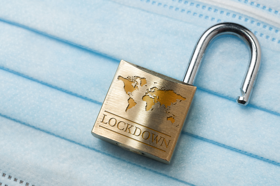 Coronavirus World Lockdown End: An Open Lock With A World Map An